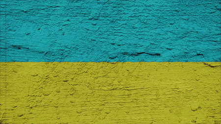 clime: ukraine Flag on the wall texture Stock Photo