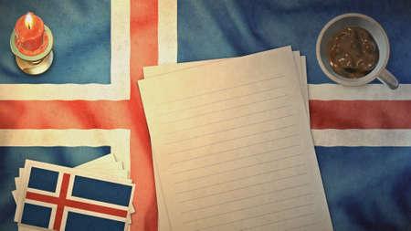flag of iceland: Bandera de Islandia y de la disposici�n de papel estilos de �poca