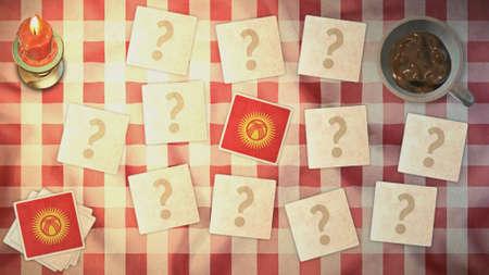 matching: Estilos Kirguist�n tarjetas de juego de la bandera de la vendimia