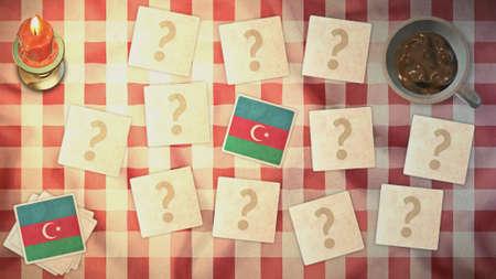 matching: estilos Azerbaijan tarjetas de juego de la bandera de la vendimia