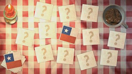matching: estilos Chile tarjeta a juego de la bandera de la vendimia Foto de archivo