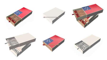matchbox:  samoa flags texture on 3d matchbox set