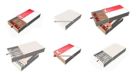 matchbox: singapore flags texture on 3d matchbox set