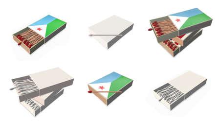 djibouti flags texture on 3d matchbox set  photo
