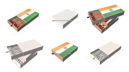 matchbox: india flags texture on 3d matchbox set  Stock Photo