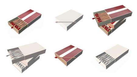 matchbox: latvia flags texture on 3d matchbox set