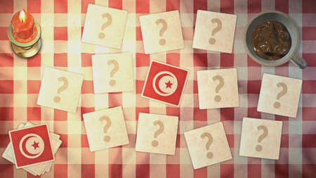 matching: tunisia flag matching card vintage styles