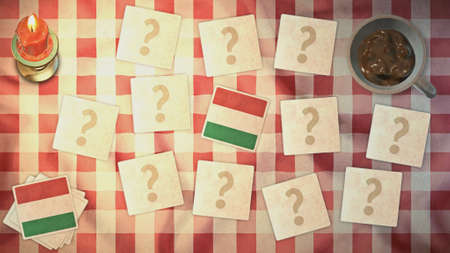 matching: hungary flag matching card vintage styles