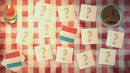 matching: estilos luxemburgo tarjeta a juego de la bandera de la vendimia