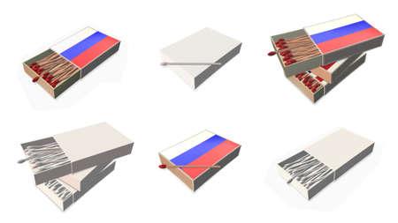 russia flags texture on 3d matchbox set  photo
