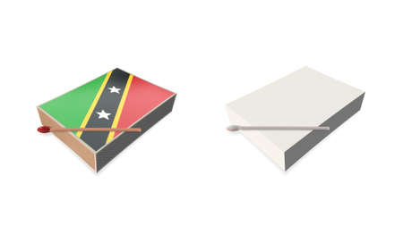 st kitts nevis flags white color and texture on 3d matchbox
