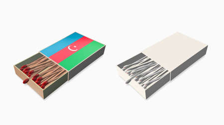 azerbaijan flags white color and texture on 3d matchbox set  photo