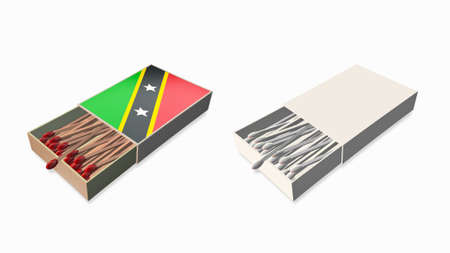 st kitts & nevis flags white color and texture on 3d matchbox set  photo