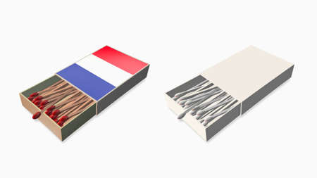 france flags white color and texture on 3d matchbox set  photo