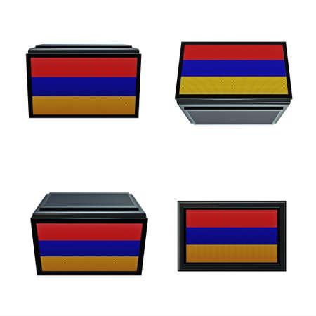 box size: armenia flags 3D Box big size set 4 in 1 Stock Photo