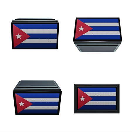box size: cuba flags 3D Box big size set 4 in 1 Stock Photo