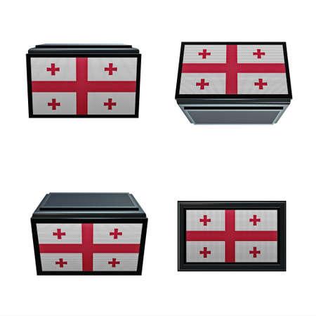 box size: georgia flags 3D Box big size set 4 in 1
