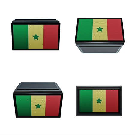 box size: senegal flags 3D Box big size set 4 in 1 Stock Photo