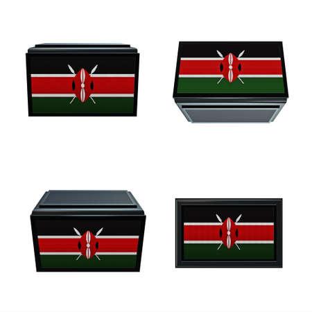 box size: Kenya flags 3D Box big size set 4 in 1