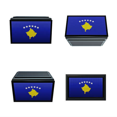 box size:  Kosovo flags 3D Box big size set 4 in 1