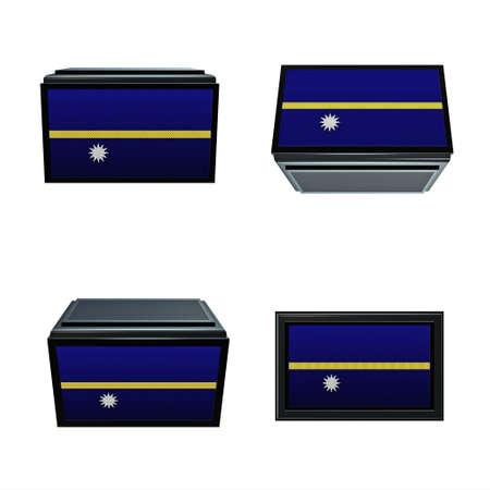 box size:  Nauru flags 3D Box big size set 4 in 1 Stock Photo
