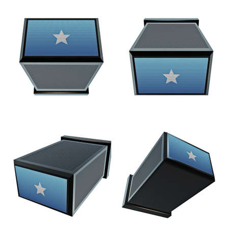 box size: somalia flags on 3D Box  big size set moving Stock Photo