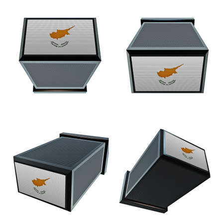 box size: Cyprus flags on 3D Box  big size set moving