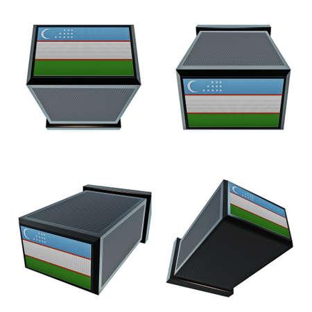 box size: uzbekistan flags on 3D Box  big size set moving