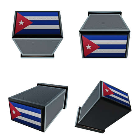 box size:  cuba flags on 3D Box  big size set moving Stock Photo