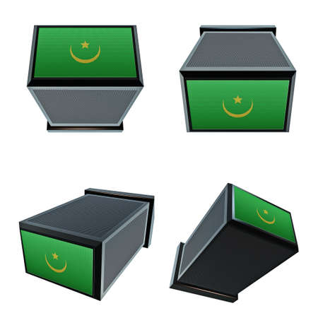 box size: mauritania flags on 3D Box  big size set moving Stock Photo