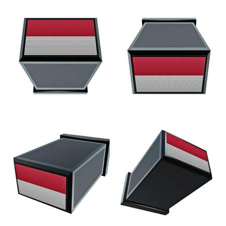 box size: monaco flags on 3D Box  big size set moving Stock Photo