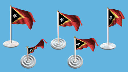 ee:  east timor flags with white pin set multiple views Stock Photo