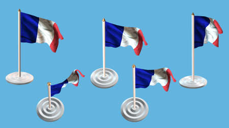 ee: france flags with white pin set multiple views