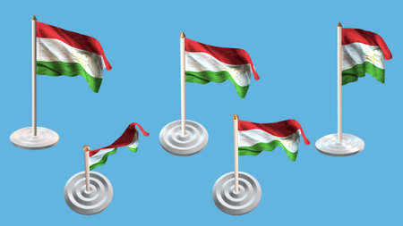 ee: Tajikistan flags with white pin set multiple views