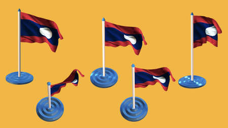 ee: laos flags blue and white  pin with flag waving