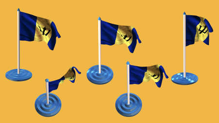 ee: barbados flags blue and white  pin with flag waving