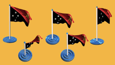 ee: Papua New Guinea flags blue and white  pin with flag waving