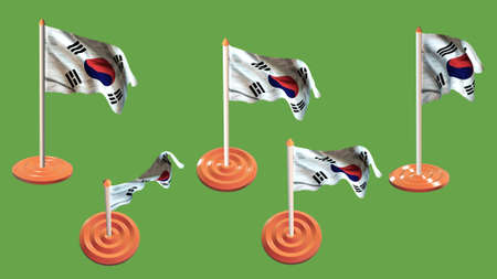 ee: Korea South flags orange and white pin with flag waving
