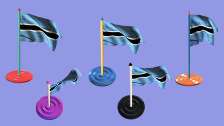 ee:  botswana flags and pin parti colored on purple screen