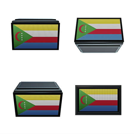 box size: comoros flags 3D Box big size set 4 in 1 Stock Photo