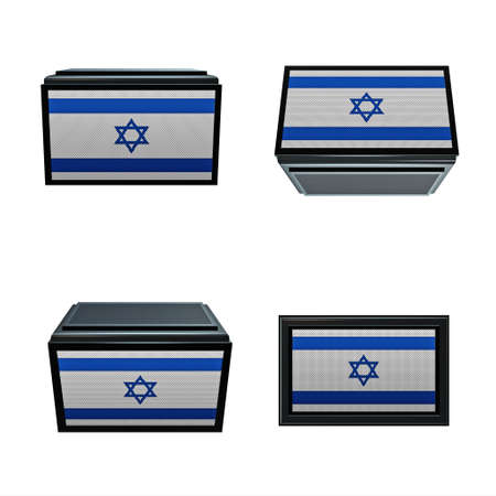 box size:  israel flags 3D Box big size set 4 in 1 Stock Photo