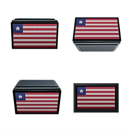 box size: liberia flags 3D Box big size set 4 in 1 Stock Photo