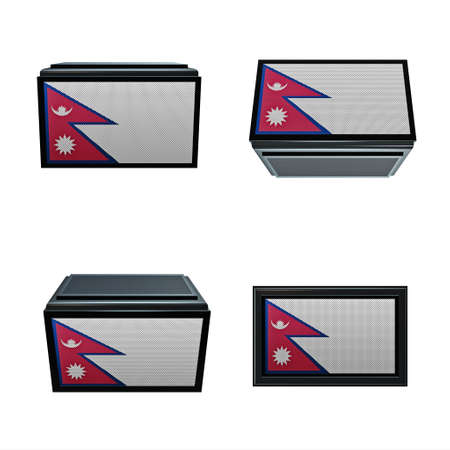 box size:  nepal flags 3D Box big size set 4 in 1