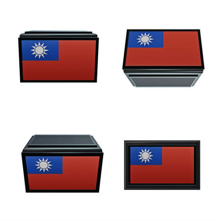 box size: taiwan flags 3D Box big size set 4 in 1 Stock Photo