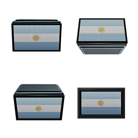 box size: argentina flags 3D Box big size set 4 in 1