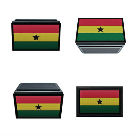 box size: ghana flags 3D Box big size set 4 in 1 Stock Photo