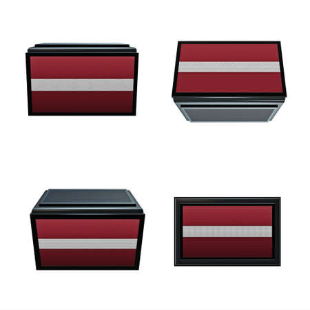 box size: latvia flags 3D Box big size set 4 in 1