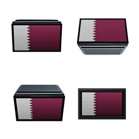 box size: qatar flags 3D Box big size set 4 in 1 Stock Photo
