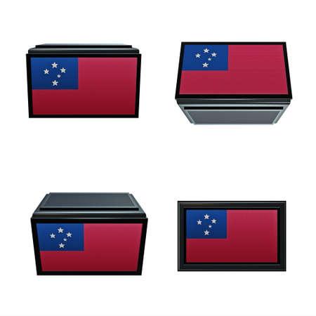 box size: samoa  flags 3D Box big size set 4 in 1