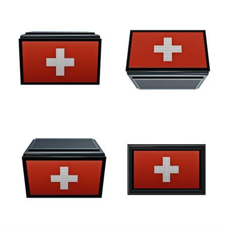 box size: switzerland flags 3D Box big size set 4 in 1